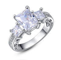 Women's Three-stone White Sapphire Stone White Gold Plated Ring Size 6-8