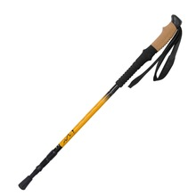 Retractable 3 Section 7075 Duralumin Aluminum Alloy Hiking Stick Trekking Pole Black Yellow Free Shipping