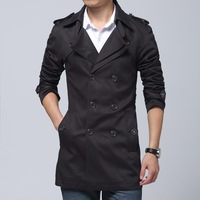 2014 Fashion cotton trench coat men long slim fit large size 4XL casual outwear male clothing black navy khaki Free shipping