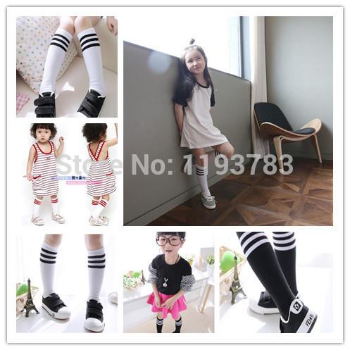 12pairs/lot Free shipping Wholesale girl's long Stocking knee high socks baby kids socks 3 colors strips leg warmmer(China (Mainland))