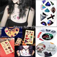 Hot Sale Temporary Tattoo Stickers Temporary Body Art Women Stars Moon Sky Diamond Cross DIY Temporary Tattoo Stickers