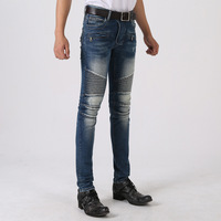 ripped Pleated jeans for men Free shipping High quality slim long denim cargo pants  fashion denim biker jeans