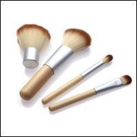 4pcs/set Natural Bamboo Handle Makeup Brushes Set Powder Blush Brushes Cosmetics Tools Kits With Hemp Linen Bag
