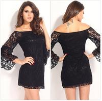 Plus Size Lace Flare Sleeve Mini Dress 2014 Large Size 2XL Sexy Dresses Full Figure Women Tassel Clothing XL Big Size Clothes L