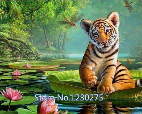New diy diamond painting needlework square diamond cross stitch rhinestone sticker picture tiger on the lotus BB314(China (Mainland))