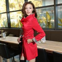 Plus Size M-4XL Beige,Red,Black 2015 New Fashion Autumn Women Cotton Elegant Argyle Slim Trench Coat Casual Overcoat Outerwear
