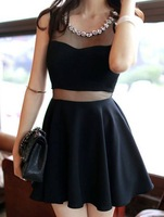 Ruffled Casual Scoop Neck Diamante Voile Splicing Sleeveless Dress For Women Sexy Black Women Dresses Fashion Club Party Dress
