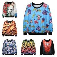 3D Sweatshirt Fashion Cartoon Pattern Printed Sweatshirts Galaxy Hoodies Women Brand Design Tops Sportwear Coat Free Shipping