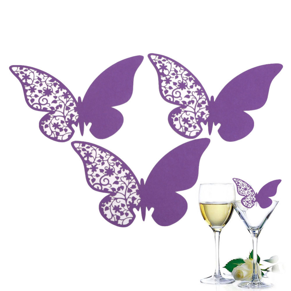 Hot 50 Pcs Butterfly Place Escort Wedding Party Wine Glass Paper Cards Purple New Arrival Free Shipping(China (Mainland))