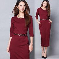 New Autumn and winter elegant three quarter sleeve career women's one-piece dress slim hip basic formal dress full dress