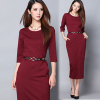 New Autumn and winter elegant three quarter sleeve career women's one-piece dress slim hip basic formal dress full dress