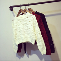 Free shipping Spring and Autumn new female fashion diamond hollow hole short paragraph long-sleeved sweater knit sweater