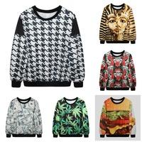2015 Autumn Women Fashion Hoodies 3D Pharaoh/Green Leaves/Hamburger/Bird/Flower Printed Sweatshirts Brand Tops Jacket Coat