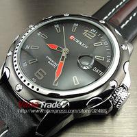Curren New Fashion Casual Dial Clock Hours Hand Date Quartz Watch Black Leather Starp Men Sports Wrist Watches 8072