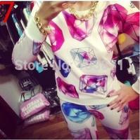 2015 Autumn Fashion Sport Suit 2pcs Women Casual Loose Sweatshirts Personalized Diamond 3D Print Pullover Tracksuits S M L