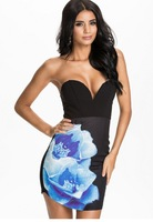 dear-lover roupas femininas vestido curto Black Sweetheart Neck Strapless Print Bodycon Dress LC21808