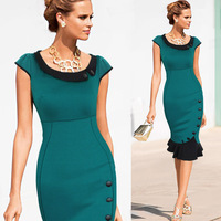 2014 New Fashion  Women Celebrity  Style  O-neck short  Sleeve Sheath Shift Party Cocktail button fishtail Patchwork  dress 3259