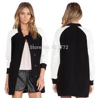 Black White Long Sleeve Zipper Pockets Women Outerwear Button Wide-waisted Long Women's Wool 2014 Autumn Winter Fashionable Coat