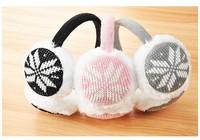 5 pieces Christmas Snowflake Knitting Wool + cotton Factory New music earmuffs ear warm winter fashion ear cap headset 3 colors