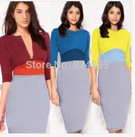 2014 New Fashion  Women Celebrity Zipper Style V-neck or O-neck half Sleeve Sheath Shift Party Cocktail Patchwork  dress 3257#
