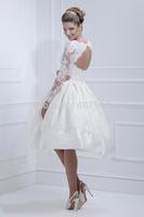 White Satin Vintage Lace Appliques Long Sleeves Backless Ball Gown Tea Length Wedding Dresses 2015 New Button vestido de noiva