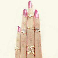 7pcs /lot Shiny Punk style  Gold plated Stack Band  clover rhinestone joint tail Finger Knuckle Ring Set for women   JZ-079