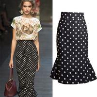 Plus Size European Style Female Chiffon Polka Skirt Fashion Mermaid Ruffles Mid-Calf Feminina Saias Women Skirts