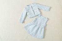 Spring 2015 new  Fresh Temperament girls vest dress + coat Flax 2pieces sets