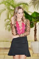2015  women Printed Leopard Mesh Rose Lace Blouses