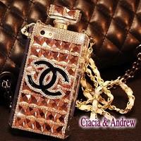 Gold Rhinestone Perfume Case