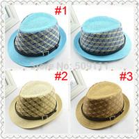 Children Outdoor Leisure Hat Kids Plover Case Hat Boys girls fedora hat Summer straw cap with belt 10pcs/lot BH240