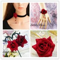 NECKLACE+BRACELET+ RING+earring SET 2015 black ribbon red flower crystals wedding jewelry sets bijoux joyas accessories handmade