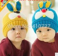New winter warm baby rabbit 3D modeling woolen cap sleeve head cap the  protective ear cap 2pcs/lot free shipping