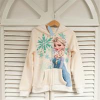 2014 New winter girls Frozen coat, 100% cotton Elsa jacket, Children's recreational coat, children's warm hooded jacket.