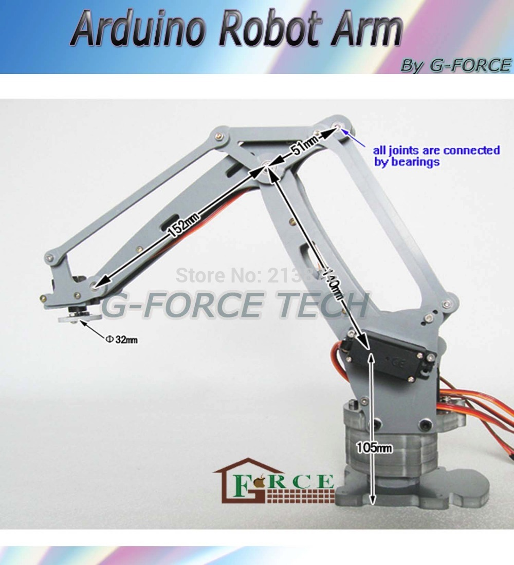 Arduino-powered desktop 4-axis parallel-mechanism laser cut acrylic robot arm PalletPack industrial robot arm(China (Mainland))