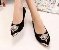 Flat shoes fashion lady shoes Rhinestone Fox pointed toe flock women flats shoes Casual flat heel single shoes free shipping