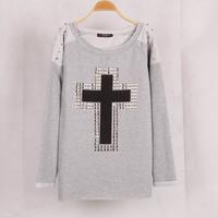Free Shipping 2014 Women Hoody Spring Autumn Long Sleeve Sportswear Rivet Cross Printed Sweatshirts Casual Hoodies Moleton