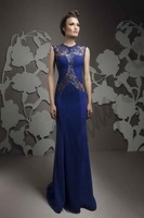 2015 Modest Illusion Evening Gowns Lace And Chiffon beaded Floor Length Formal Mother Of The Bride Dress Free Shipping 6805