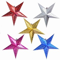 Free shipping (5pc/lot) Mixed colour Paper Stars Hanging Star For Christmas Tree Home Party wedding Decorations Christmas Ideas