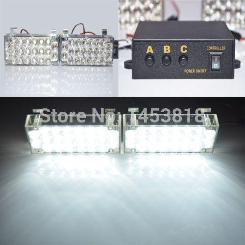 2 x 22 LED branco Daytime running luz aviso de emergência do Flash Strobe Universal EMS Police Car luz bombeiros Grille Fog estacionamento(China (Mainland))