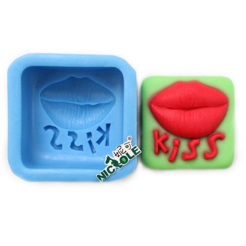 Nicole R0206 lip Kiss SOAP mold DIY manual mold silicone chocolate mold mold(China (Mainland))