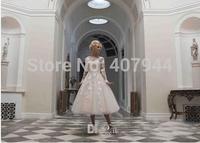 Designer White Lace Appliques Buttons Ball Gown Tea Length Wedding Dresses 2015 New Long Sleeves Bridal Dress vestido de noiva