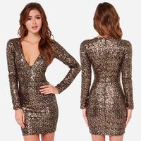 new 2014 Sexy Club Party Dress metal paillette embroidery charming V-neck slim hip pencil dress sequin dress Vestidos Femininos