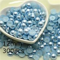 1.5-12mm 10000-300pcs/lot flat back light blue half pearl DIY jewelry accessories