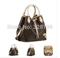 Brand design classic plaid brown Tassel hick straps HOT WOMEN'S HANDBAG SHOULDER BAG M40372