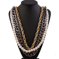 2014 Women Fashion Gold Chunky Chains Cross Circular Pearls Bib Statement Choker Collar Necklace Jewelry New wholesale DDNP802