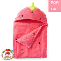 2014 Carters Kid Baby Girl Cotton Cute Strawberry Costume Hooded Blankets Infant Large Terry Bath Towel Care Clothing 127x69cm