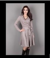 The new spring and autumn slender elegant V collar lace dress