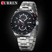 New Curren Luxury Brand Sports Watches Men Quartz Clock Auto Date Dress Wristwatches Military Watches Man Full Steel Watch 8148