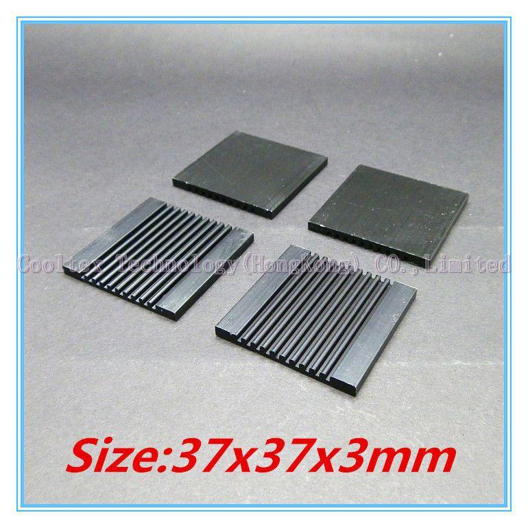 (100pcs/lot) 100% new 37x37x3mm black Aluminum heatsink radiator heat sink for chip LED computer 's component heat dissipation(China (Mainland))